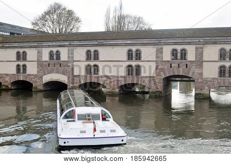 A tourist boat in the heart of Strasbourg in Alsace - France