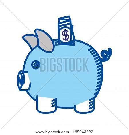 blue contour of moneybox in shape of pig with dollar bill vector illustration