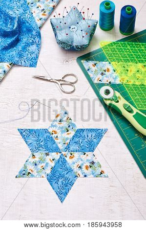 Prepare of diamond pieces of fabric for sewing quilt top view