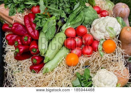 Organic farmers food market place. Fresh products -  vegetables on sale at the local market, close-up, top view