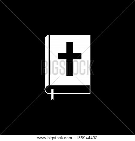 Holy bible book solid icon, religion elements, Religious sign, a linear pattern on a black background, eps 10.