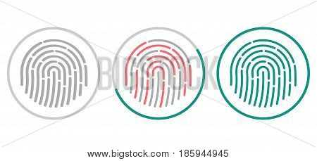 Fingerprint scanning icons isolated on white background. Biometric authorization symbol. Vector illustration