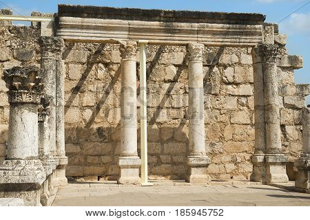 remains of the 4th century synagogue on the northern shore of the Sea of Galilee, Capernaum, Israel