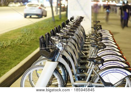 Parking of municipal rent bicycles in Moscow