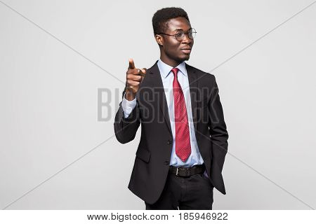 Handsome Young African Man In Formalwear Pointing On You While Standing Against Grey Background