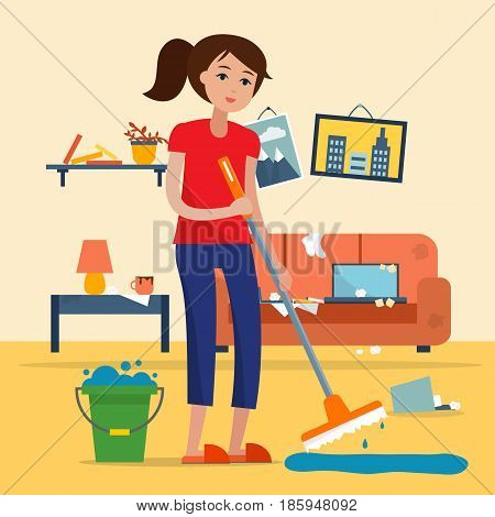 Woman cleaning dirty room with a mop and a bucket of water. Floor washing. Flat style vector illustration.