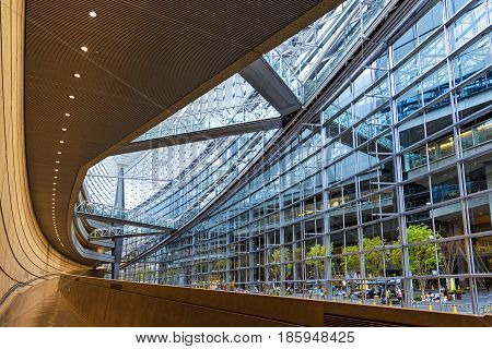 Tokyo, Japan - April 20, 2014: View of Tokyo International Forum interior. The Tokyo International Forum is a multi-purpose exhibition center completed in 1996 by architect Rafael Viñoly
