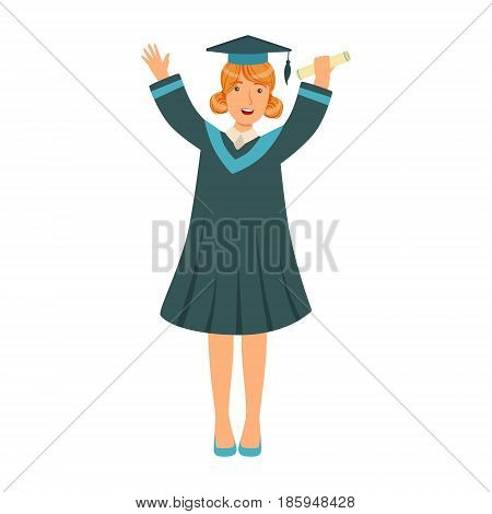 Graduating student girl in an academic gown raising her hands up. Celebrating graduation ceremony concept. Colorful cartoon illustration isolated on a white background