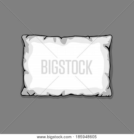 Bed pillow template isolated on gray background. Sketch illustration.