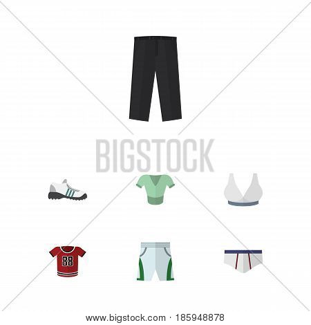 Flat Garment Set Of Brasserie, Casual, Underclothes And Other Vector Objects. Also Includes Gumshoes, Trousers, Breast Elements.