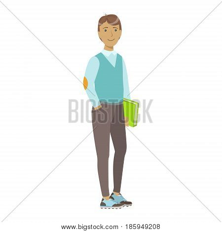 Smiling college student standing and holding book. Colorful cartoon illustration isolated on a white background