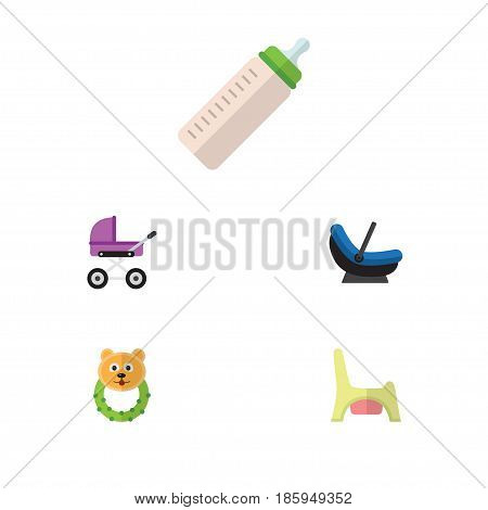Flat Kid Set Of Stroller, Rattle, Feeder And Other Vector Objects. Also Includes Pram, Bear, Cradle Elements.