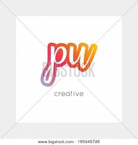 PU logo, vector. Useful as branding, app icon, alphabet combination, clip-art.