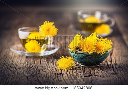 Dandelion Tea.Yellow dandelion flowers and tea cups.