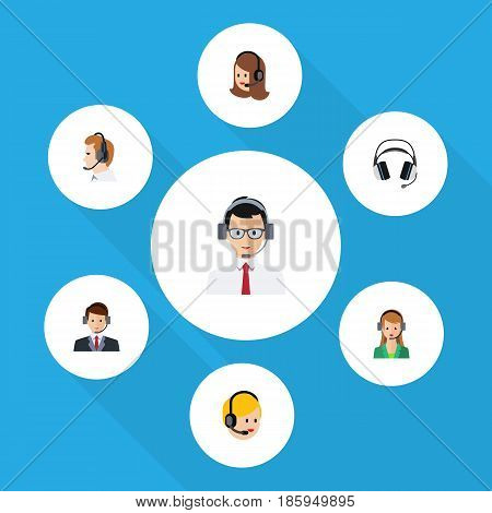 Flat Call Set Of Call Center, Hotline, Earphone And Other Vector Objects. Also Includes Support, Human, Online Elements.