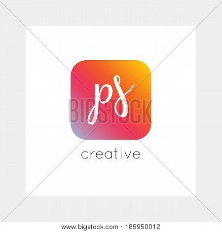 PS logo, vector. Useful as branding, app icon, alphabet combination, clip-art.