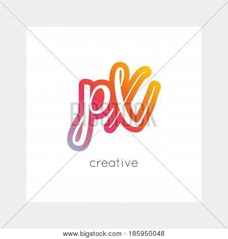 PX logo, vector. Useful as branding, app icon, alphabet combination, clip-art.