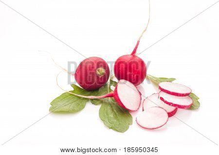 Fresh radish isolated on white bacground. Natural food.