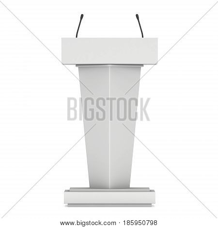 3d Speaker Podium. White Tribune Rostrum Stand with Microphones. 3d render isolated on white background. Debate, press conference concept