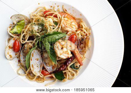 A Close Up Dish Of Spaghetti