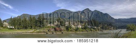 Cascade Locks Columbia River Gorge panorama Oregon.