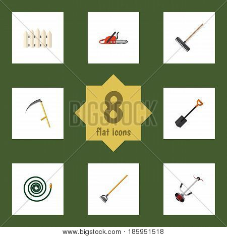 Flat  Set Of Spade, Grass-Cutter, Harrow And Other Vector Objects. Also Includes Garden, Fence, Hose Elements.