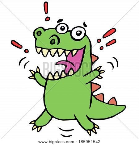 lucky smiling dinosaur. vector illustration. cute cartoon happy character.