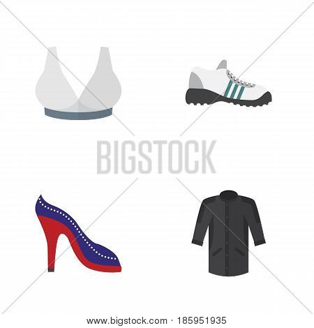 Flat Clothes Set Of Sneakers, Heeled Shoe, Brasserie And Other Vector Objects. Also Includes Shoes, Breast, Gumshoes Elements.