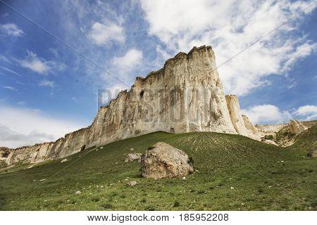 Summer landscape with White Rock Ak-Kaya in Crimea