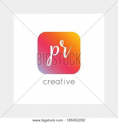 PR logo, vector. Useful as branding, app icon, alphabet combination, clip-art.