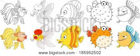 Cartoon animals set. Goldfish in beret making air kiss amazed and surprised butterfly fish sad puffer fish (blowfish sea porcupine fugu) doubting piranha in thought. Coloring book pages for kids.