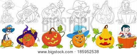 Cartoon halloween set. Cat in a hat sitting on gourd four carving pumpkins with different emotions little child boy in a costume of vampire Dracula. Coloring book pages for kids.