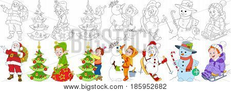 Cartoon christmas set. Santa claus with presents and his helper elf child decorating fir tree snowman skiing candy stick and bauble young boy sledding. Coloring book pages for kids.