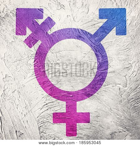 Transgender Symbol Combining Gender Symbols. Retro Style.