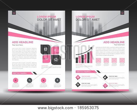 Business brochure flyer templater Pink cover design annual report newsletter ads polygon background poster