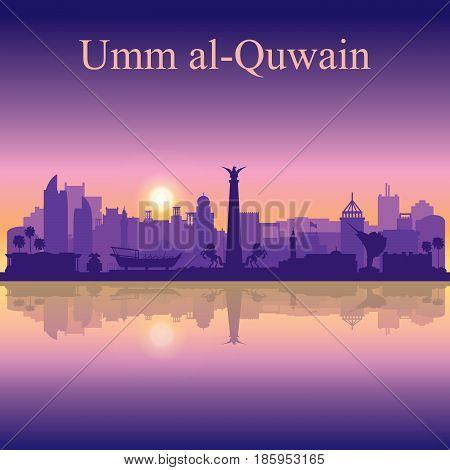 Umm Al-quwain Silhouette On Sunset Background