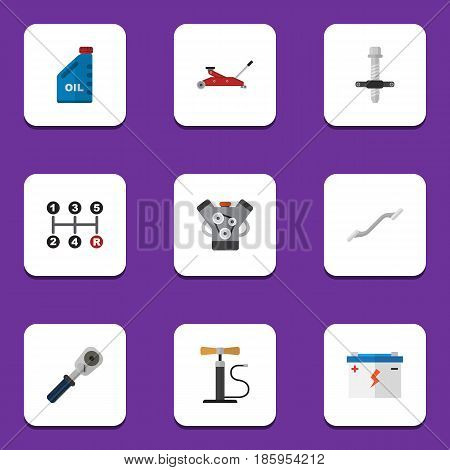 Flat Auto Set Of Accumulator, Ratchet, Motor And Other Vector Objects. Also Includes Accumulator, Battery, Lifting Elements.
