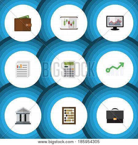 Flat Exchequer Set Of Document, Billfold, Portfolio And Other Vector Objects. Also Includes Briefcase, Growth, Document Elements.