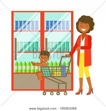 Young woman pushing a supermarket cart with some goods and kid sitting in a shopping cart. Shopping in grocery store, supermarket or retail shop. Colorful character vector Illustration isolated on a white background