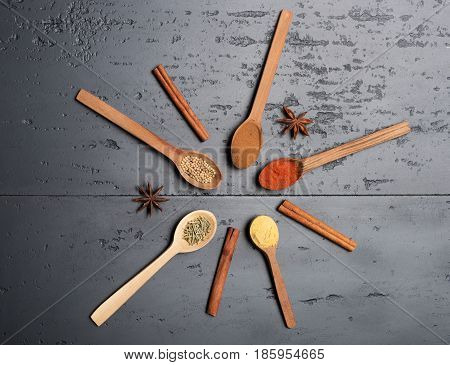 Circle Of Eastern Spices And Wooden Spoons
