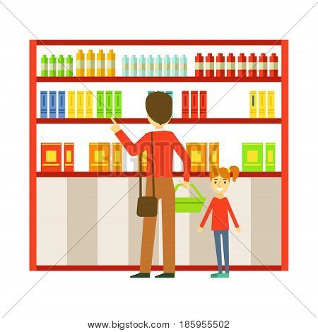Father and his daughter shopping in the supermarket. Family shopping colorful character vector Illustration isolated on a white background
