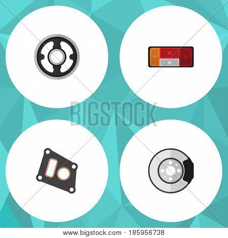 Flat Component Set Of Belt, Headlight, Gasket And Other Vector Objects. Also Includes Packing, Disk, Brake Elements.