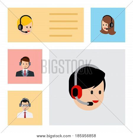 Flat Center Set Of Service, Hotline, Call Center And Other Vector Objects. Also Includes Help, Service, Human Elements.