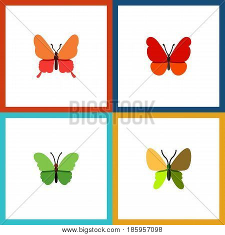 Flat Butterfly Set Of Beauty Fly, Danaus Plexippus, Milkweed And Other Vector Objects. Also Includes Milkweed, Monarch, Moth Elements.