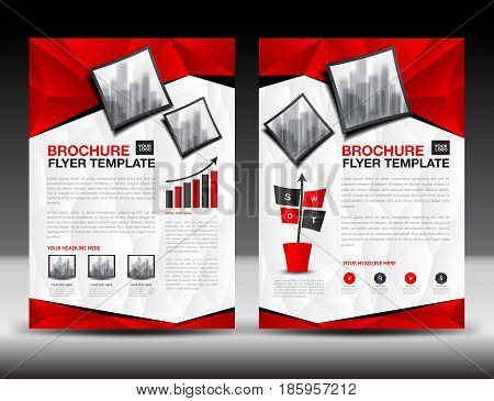 Business brochure flyer templater Red cover design annual report newsletter ads polygon background