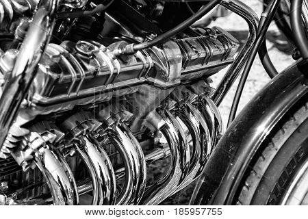 PAAREN IM GLIEN GERMANY - MAY 19: Engine Superbike Honda CBX black and white