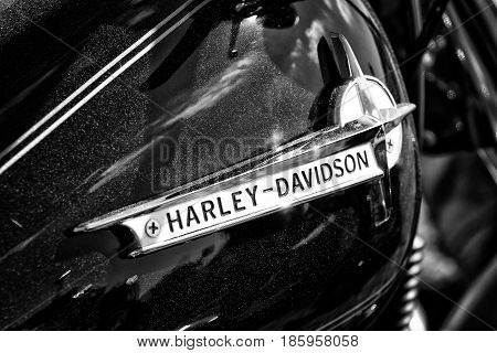 PAAREN IM GLIEN GERMANY - MAY 19: Emblem motorcycle Harley-Davidson black and white