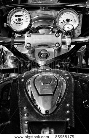 PAAREN IM GLIEN GERMANY - MAY 19: The dashboard and a fragment of petrol tank motorcycle Honda Valkyrie black and white