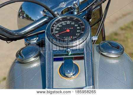 PAAREN IM GLIEN GERMANY - MAY 19: The dashboard and fuel tank motorcycle Harley Davidson