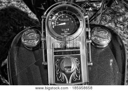 PAAREN IM GLIEN GERMANY - MAY 19: Detail of the dashboard and fuel tank motorcycle Harley-Davidson Electra Glide Ultra Classic black and white